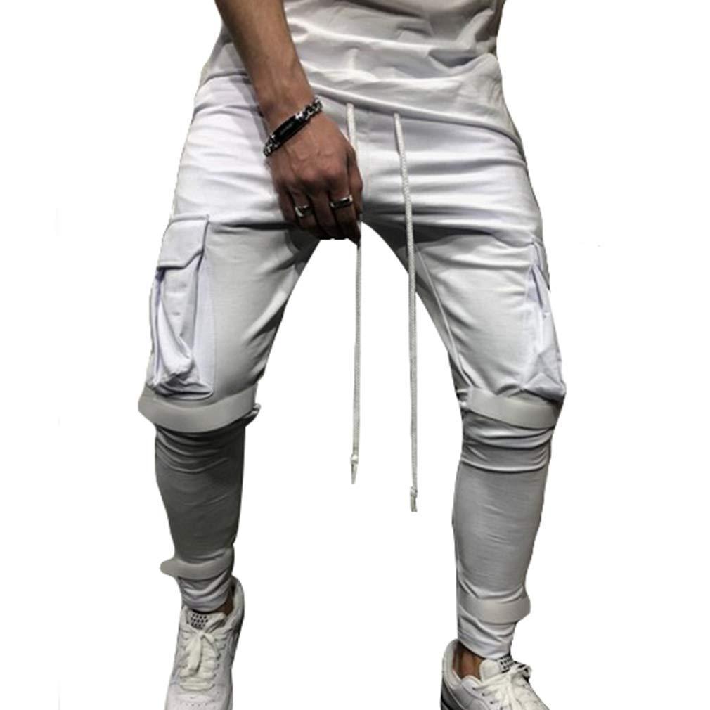 Pantalons de surv/êtement en Plein air Hommes Casual Walk Jogger Sportswear Poches Pantalons Taille /élastique Cordon de Serrage Solide Pantalon S-3XL