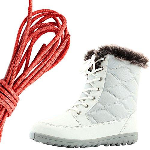 Dailyshoes Donna Confortevole Punta Tonda Caviglia Piatta Eskimo Inverno Neve Stivali Di Pelliccia, Rosso Avorio Pu