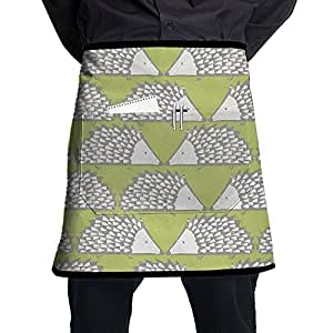 Waist Tie Half Waist Apron For Men & Women, Hedgehog Pattern Waist Tie Half Bistro Apron With 2 Pockets For Waitress, Waiter, Chef, Baker, Servers