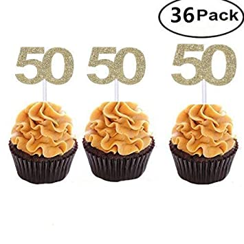 Set Of 36 Golden Number 50 Cupcake Toppers 50th Birthday Celebrating
