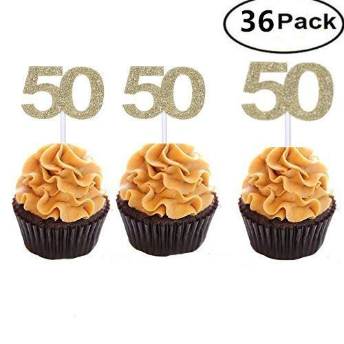 Set of 36 Golden Number 50 Cupcake Toppers 50th Birthday Cel