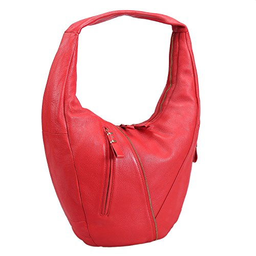 Red Leather Slouch Bag - 2