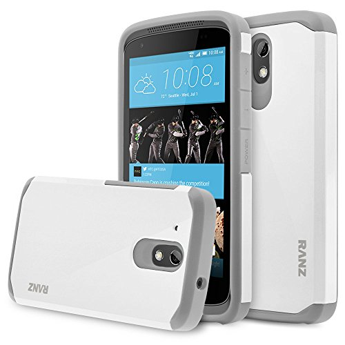 HTC Desire 526 Case, RANZ Grey with White Hard Impact Dual Layer Shockproof Bumper Case for HTC Desire 526