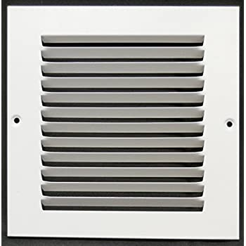 """6""""w X 6""""h Steel Return Air Grilles - Sidewall and Cieling - HVAC DUCT COVER - White [Outer Dimensions: 7.75""""w X 7.75""""h]"""