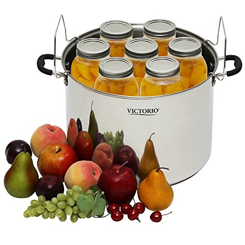 Victorio VKP1130 Stainless Steel Multi-Use Canner with Temperature Indicator w/ Stainless Steel Canning Rack
