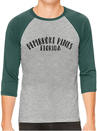 Austin Ink Apparel Unisex Mens City Of Pembroke Pines Florida 3/4 Sleeve Grey Baseball T-Shirt, Green Sleeves, - Pines Shops Pembroke Of