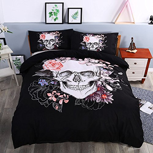 Cheap Koongso 3D Digital Print Bedding Blooming Flower and Sugar Skull Print Microfiber Duvet Cover Set for sale
