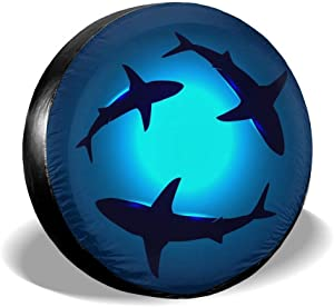 Foruidea Peaceful Floating Swimming Sharks Under The Blue Ocean Sea Spare Tire Cover Waterproof Dust-Proof UV Sun Wheel Tire Cover Fit for Jeep,Trailer, RV, SUV and Many Vehicle (14, 15, 16, 17 Inch)