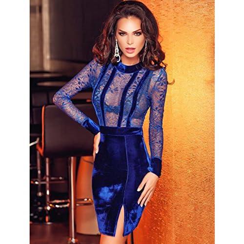ae02e2623b3e3 barato Nuevo Azul Terciopelo y encaje manga larga Bodycon Mini vestido de  fiesta noche cóctel club