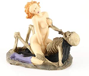Tvoip Creative Resin Skull Ghost & Beauty Sexy Statue Craft Figurines 2-Posture for Home Bar Party Desk Decorative Ornament Funny Gift (Sitting)