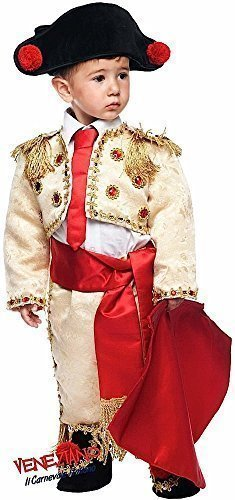 8 Piece Italian Made Super Deluxe Baby + Older Boys Gold Spanish Matador Bull Fighter Around The World Carnival Fancy Dress Costume Outfit 0-10 Years (3 Years) -