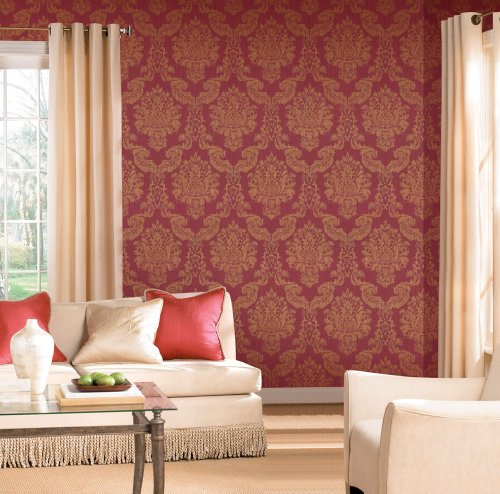 Modern Louis Red/Gold Foil Vinyl Damask Wallpaper For Walls - Double Roll - By Romosa Wallcoverings