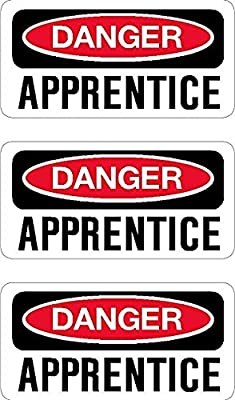 Three (3) Best Seller Reflective 3M Danger Apprentice Hard Hat Stickers USA Union | Welding Helmet Decals | Funny Labels Badges Toolbox Laborer Construction Trucker Cowboy