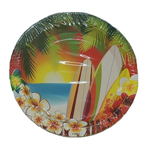 (Hawaii Luau Tropical Surfing Party Small Round 7 Inch Party Cake Dessert Plates)