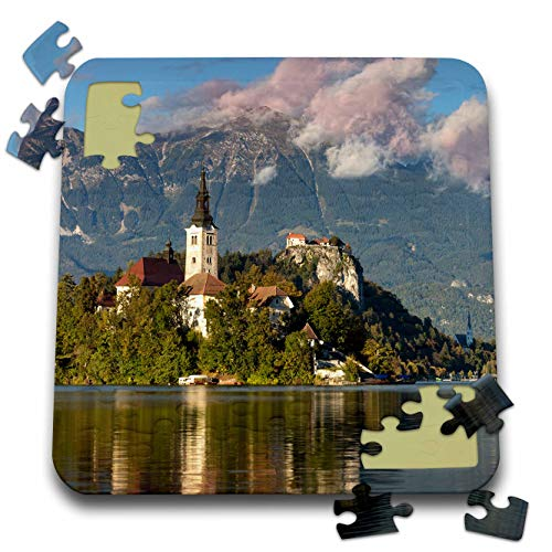 3dRose Danita Delimont - Slovenia - St. Marys Church on Bled Island with Bled Castle, Slovenia. - 10x10 Inch Puzzle (pzl_313883_2)