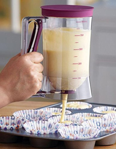 Plastic Pancake Batter Dispenser with Measurement for Cupcake Muffin Pastry Baking Tools