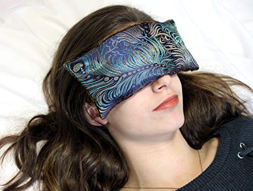 Handmade Eye Pillow by Candi Andi - Yoga/Therapy - Microwavable Hot/Cold - Flax Seed Filled - Colorful Satin Brocade and Crushed Velvet - Unscented or Lavender Scented - Dark Turquoise -