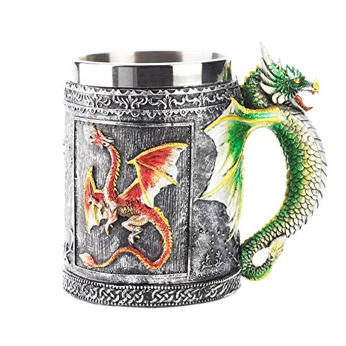 Mug stainless steel wolf head skull head dragon 3D three-dimensional resin cup coffee cup animal,dragoncup