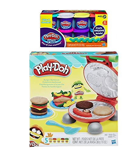 PD Play-Doh Burger Barbecue Play Set + Play-Doh Plus Compound Bundle