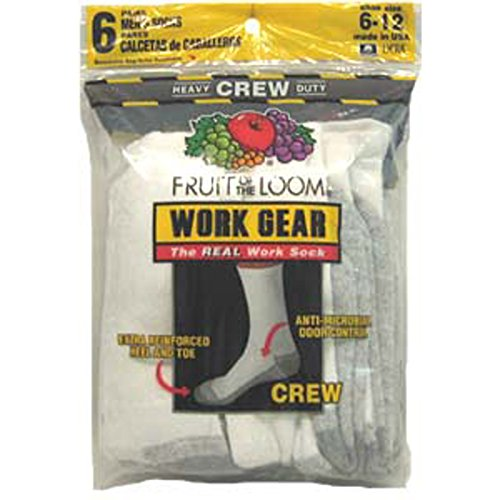 Men'S Heavy Duty Crew Sock, White - 1 Pkg