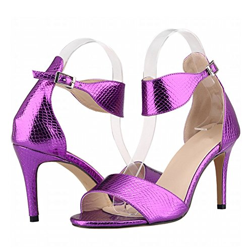 Zhuhaixmy New Frau Damen High Heels Peep Toe Gürtel Schnalle Krokodil Muster Sandalen Schuhe Purple