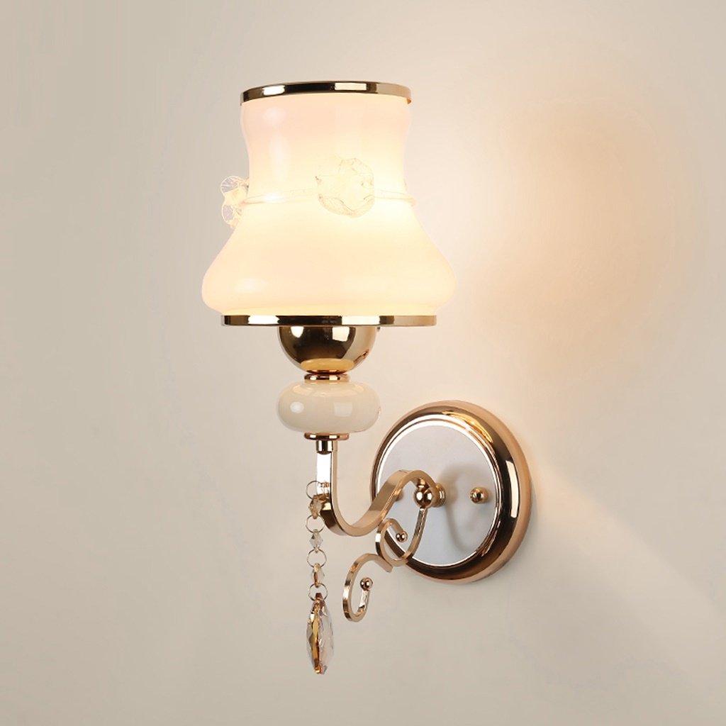 MLMHLMR Nachttischlampe Wandleuchte Schlafzimmer modernen minimalistischen Wohnzimmer kreative Europäischen Stil Goldenen Kristall LED-Lampen Wandleuchte