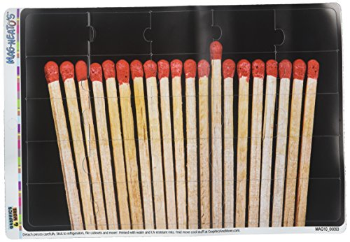 Graphics and More Matches Match Sticks Lighter Fire MAG-NEATO'S Novelty Gift Locker Refrigerator Vinyl Puzzle Magnet Set