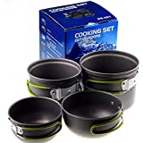 Convenient Type Camping Cookware Utensils Outdoor Pot Set Hiking Picnic Backpacking Camping Tableware Pot 1-2persons