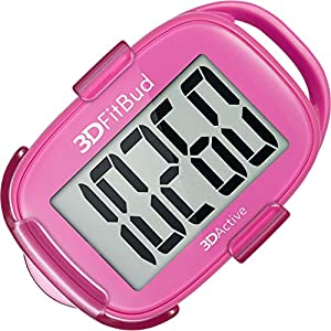 3DFitBud Simple Step Counter Walking 3D Pedometer with Lanyard, A420S (Pink with Clip)