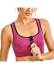 SYROKAN Women's High Impact Wirefree Padded Front Zip Training Sports Bras Gym Fitness