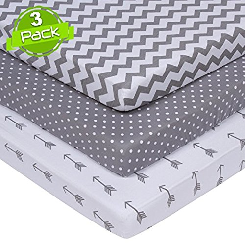 Lullaby Baby 3-Pack 100% Soft Cotton Fitted Crib Sheet Set-For Boys or Girls-VALUE PACK