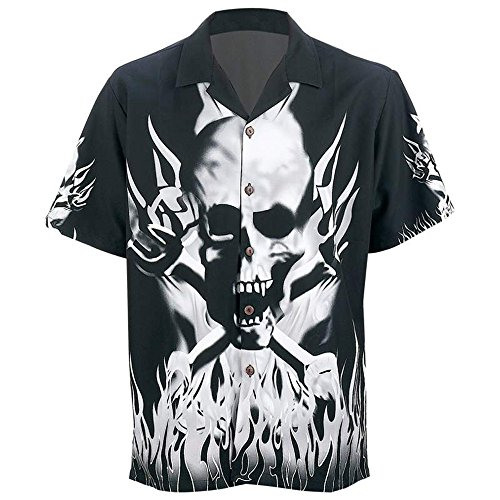 Skulls and Flames Button Down Adult Shirt in Biker Motorcycle (Flame Skull Button Down Shirt)