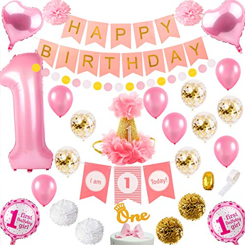 First Girl Birthday Party Decorations - 1st Girl Birthday Decorations/First Girl Party Decor | High Chair Decorations, Number 1 balloon, 1st Bday Hat, Cake Topper, Happy Bday banner, paper Pom Poms, Latex&confetti balloons -