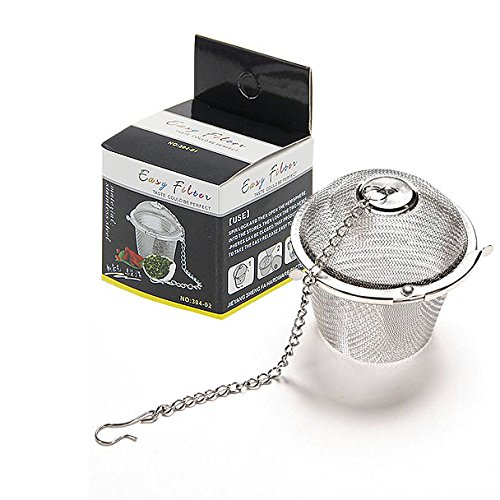 Coolrunner Durable Silver Tea Strainer Reusable Stainless Mesh Herbal Ball Tea Spice Teakettle Locking Tea Filter Infuser Spice (S)