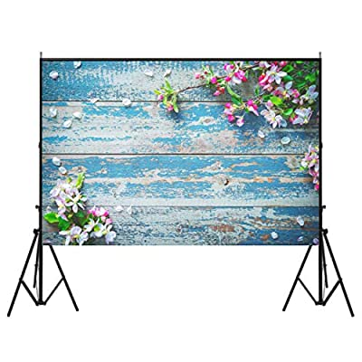 FUT Newest Blue Four Wooden Doors & Wooden Floor LESS CREASE Vinyl Wedding Backdrop Background for Wedding, Baby, Newborn, Personal Photo 3x5ft/ 5x7ft (Updated Material)