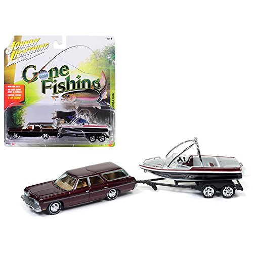 Johnny Lightning Jlbt004a 1973Chevrolet Burgundy 1973 Chevrolet Caprice Station Wagon Dark Red Poly With Malibu Boat Gone Fishing 1 64 Diecast Model Car