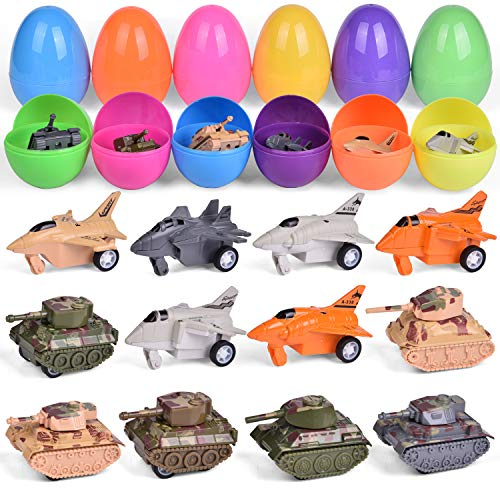 12 PCS Filled Easter Eeggs with Alloy Airplanes and Tanks Easter Basket Stuffers Bulk Prefilled Easter Eggs with Small Toys Inside Party Favors for Kids Toddler Boys and Girls