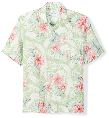 Hawaiian Linen (28 Palms Men's Relaxed-Fit 100% Linen Reverse Print Shirt, Washed Green Floral, XX-Large)