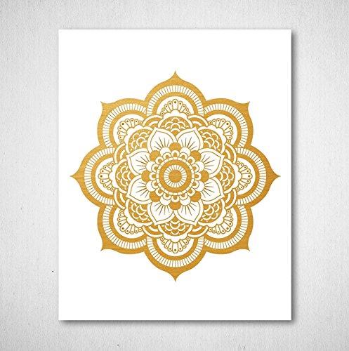Gold Foil Art Print - Mandala Gold Foil Print Design 8x10 inches Photo #2