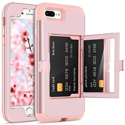 BENTOBEN Case iPhone 7 Plus/8 Plus, Credit Card Holder Slot Handy Mirror Women Girly Style Hard PC Soft TPU Rubber Heavy Duty Shockproof Protective Cellphone Cover Apple iPhone7+/8+, Rose Gold