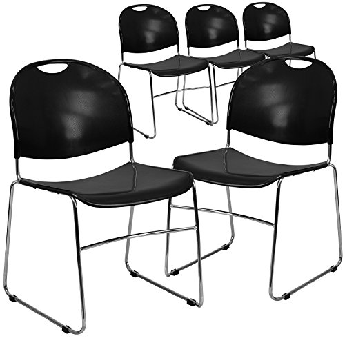 Textured Polypropylene Stacking Chairs - Flash Furniture 5 Pk. HERCULES Series 880 lb. Capacity Black Ultra Compact Stack Chair with Chrome Frame