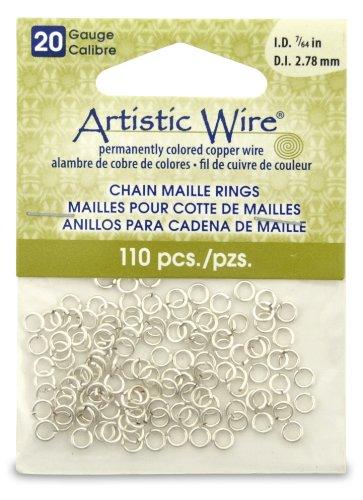 Artistic Wire 20-Gauge Non-Tarnish Silver Chain Maille Ri...