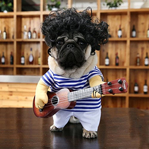 Mine-toy Dog Costume Super Funny Pet Dog Cat Party Halloween Special Clothes A Crazy Guitarist M (Halloween Dog Funnies)