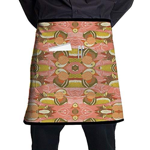- GHDSKH Duck Duck Wallpaper (5392) Waist Aprons Commercial Restaurant Home Bib Spun Poly Polyester Kitchen for Unisex