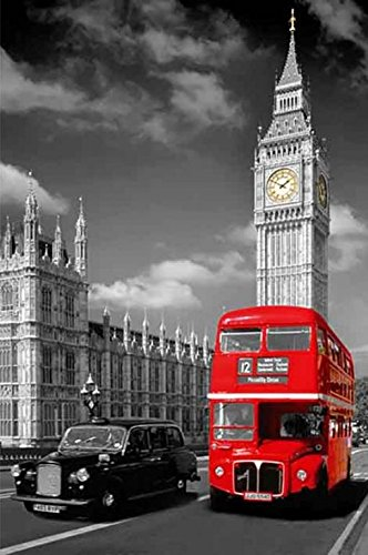 London Taxi Cab Red Bus and Big Ben England 36x24 Photograph Art Print Poster Travel