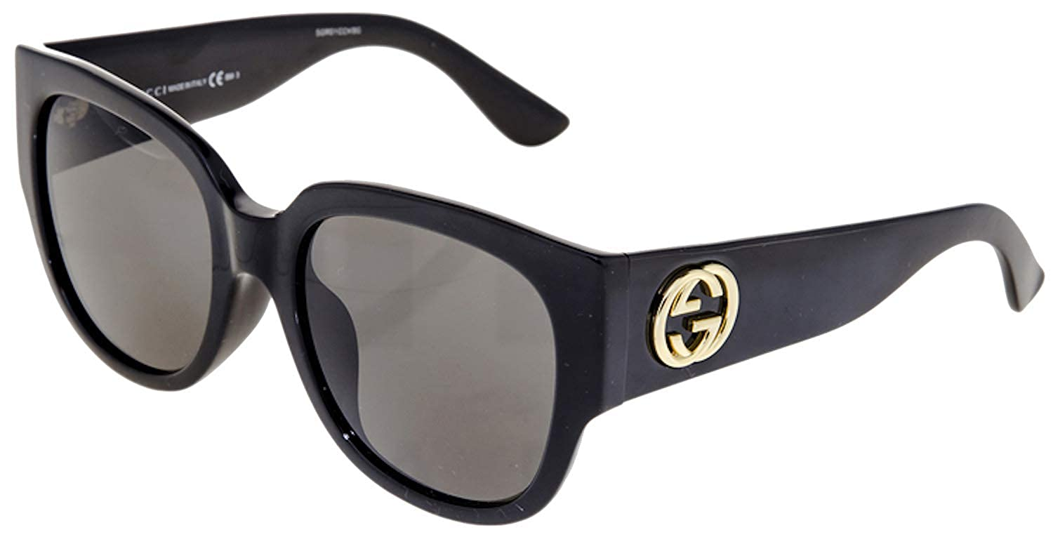1d0faaa7ef9 Amazon.com  Gucci Asian Fit Oversize Shiny Black Sunglasses GG 3836   D28  NR  Clothing