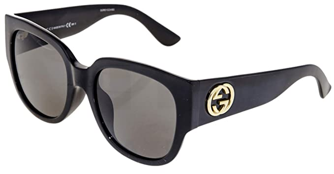 453d0d19c50 Image Unavailable. Image not available for. Color  Gucci Asian Fit Oversize  Shiny Black Sunglasses ...
