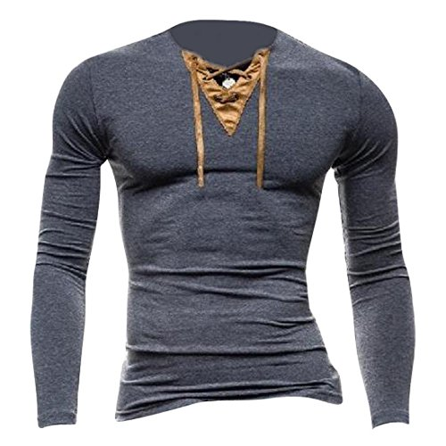 Jeansian Men's Slim Fit Long Sleeves V Neck Casual Henleys T-Shirts Tee D507 Gray S