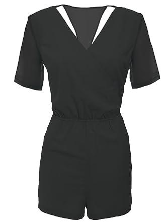 6b5e53a0b7f5 Chaos Theory Women s Playsuit Chiffon Wrap Jumpsuit Black 10  Amazon ...