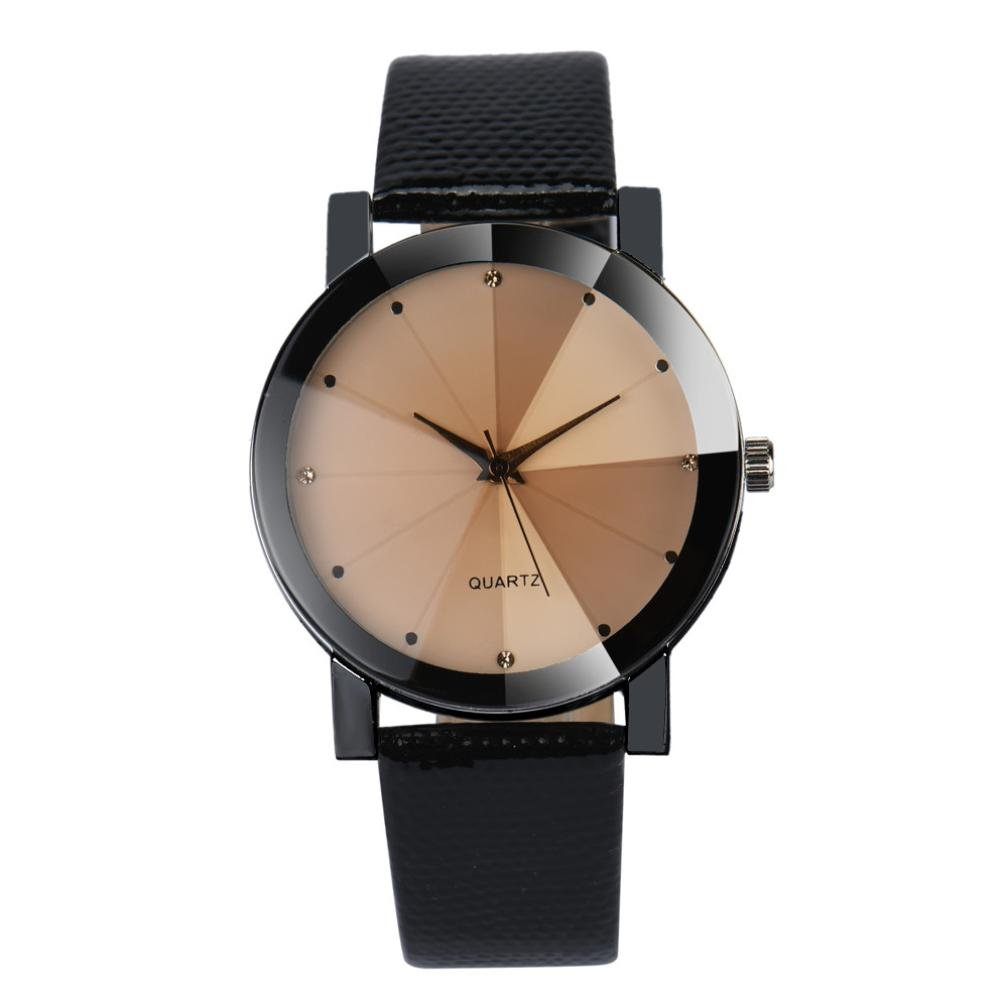 Clearance! Hmlai Luxury Fashion Watch Dial Faux Leather Band Quartz Analog Business Wrist Watches (A)